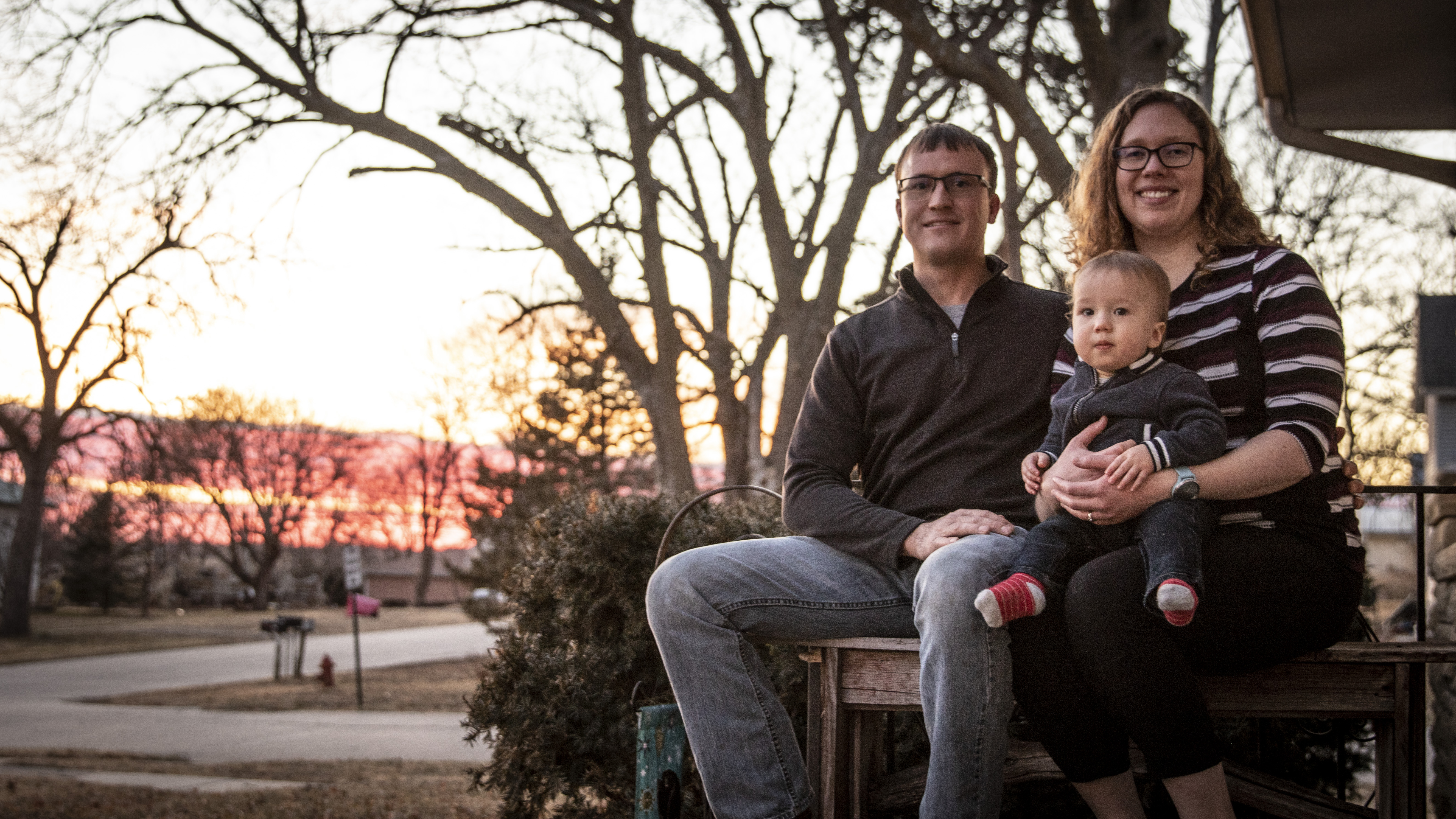 Ben with son Oliver and wife Lisa in Table Rock.