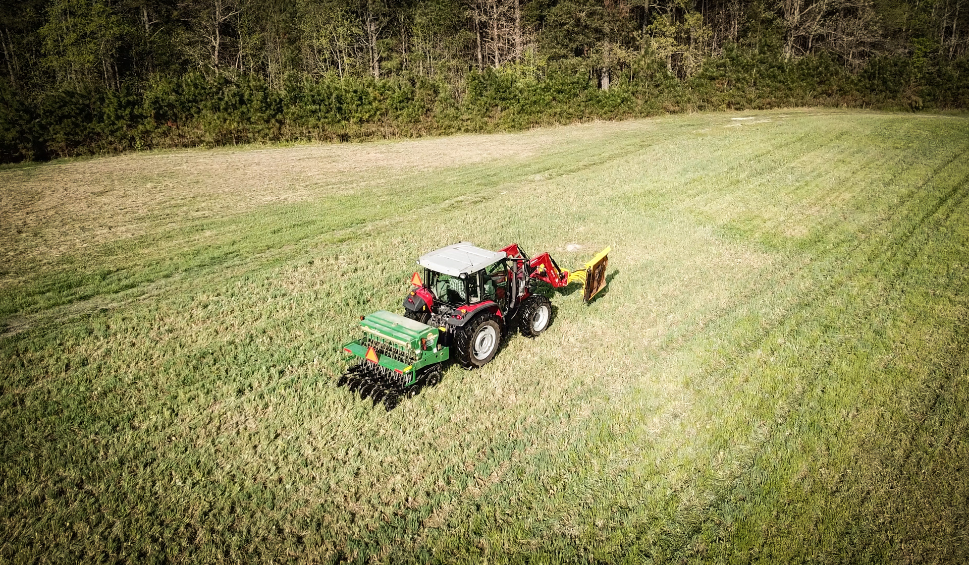 Drilling food plots with the Massey Ferguson 4707.