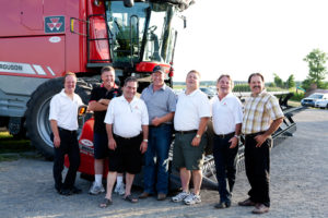The Frasers with staff from Equipments Seguin & Freres: (left to right) Sylvio Seguin, David Fraser, Michel Seguin, Rodney Fraser, Ben Lalonde, Mark Sequin, Jen Pierre Campeau