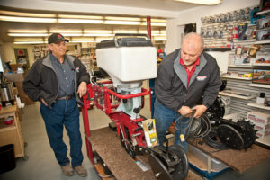 Larry with John Isaacson at Isaacson Implement.