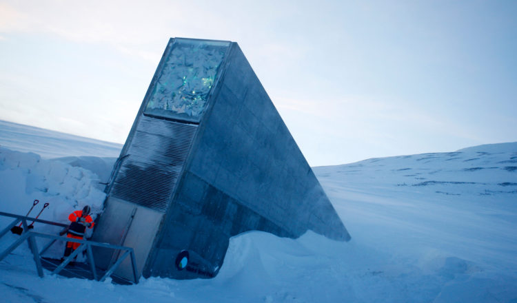 A man stands at the entrance to the Svalbard Global Seed Vault, a seed preservation vault in Norway.
