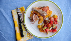 A mouth-watering plate of Grilled Chicken with Fresh Peaches is perfect for a summer dinner!