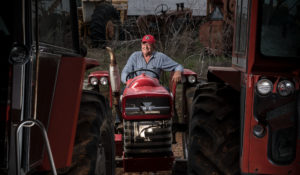 Jim Esbenshade sits smiling among his Massey Ferguson equipment collection.