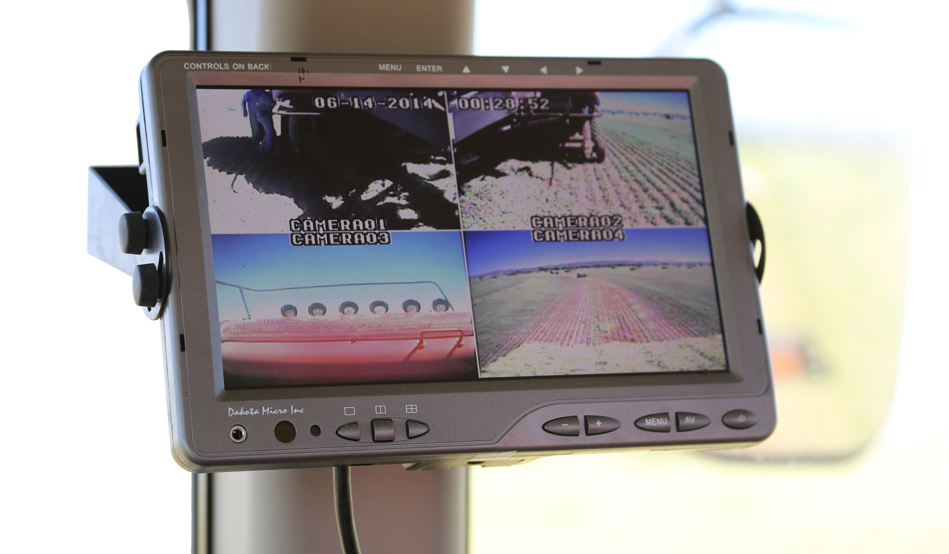 The Dakota Micro AgCam system shows many views around your equipment.