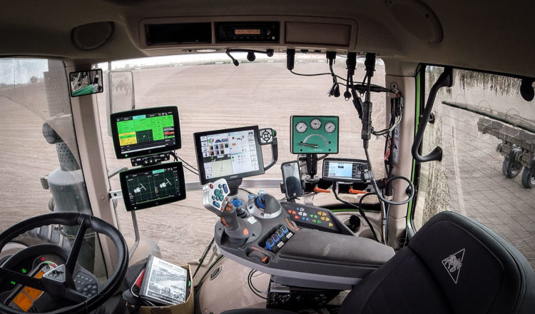 Inside the cab of a Fendt tractor; electronics inside the tractor cab